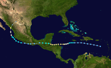 A map of Central America depicting a storm track which begins south of Puerto Rico and heads westward, crossing into the Pacific before turning north and striking the coast of the Mexican mainland.