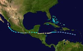 Una mappa dell'America centrale raffigurante una pista di tempesta che inizia a sud di Porto Rico e si dirige verso ovest, attraversando il Pacifico prima di girare a nord e colpire la costa della terraferma messicana.