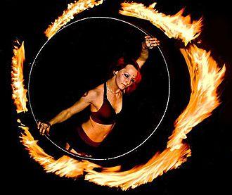 Hula hoop - Performer with a fire hula hoop