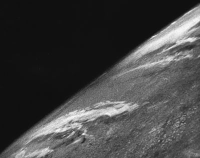 The first photos taken from space were taken on October 24, 1946 on the sub-orbital U.S.-launched V-2 rocket (flight #13) at White sands Missile Range. Photos were taken every second and a half. The highest altitude (65 miles, 105 km) was 5 times higher than any picture taken before.