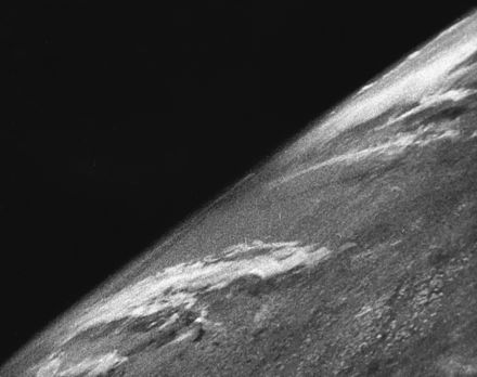 The first photo from space was taken from a V-2 launched by US scientists on 24 October 1946. First photo from space.jpg