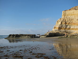 Black's Beach - State Park police car or Lifeguard navigating Flatrock Point at low tide, Torrey Pines State Beach, La Jolla, CA