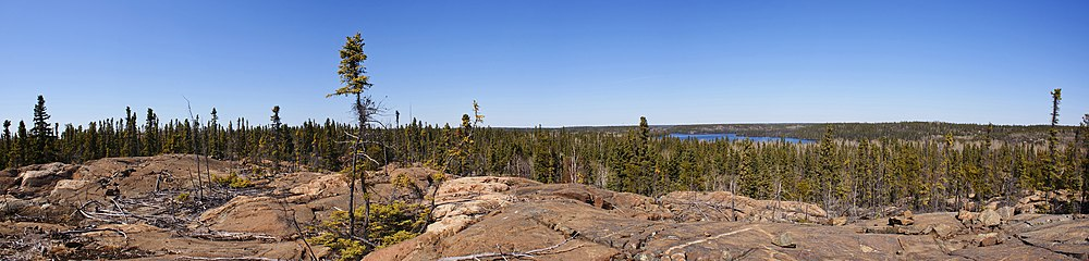 canadian shield geography in the flin flon manitoba region the lake in the background is big island lake