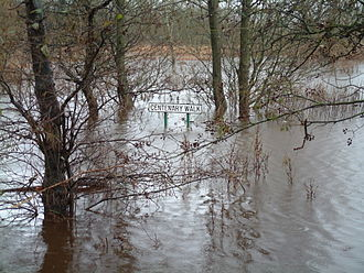Allan Water - Floods at lower Bridge of Allan in winter