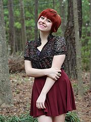 File:Floral Print Top, Maroon Skater Skirt, Red Pixie Cut ...