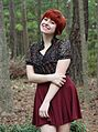 Floral Print Top, Maroon Skater Skirt, Red Pixie Cut.jpg