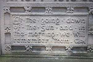 "Ode of Remembrance - ""For The Fallen"" inscription on Stirling War Memorial, Scotland"