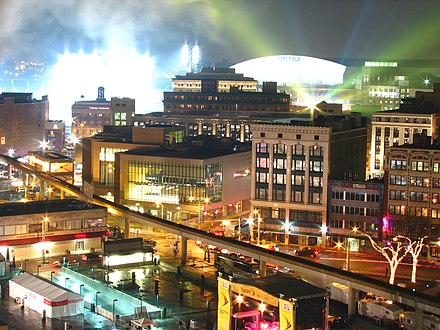 Looking toward Ford Field the night of Super Bowl XL Ford Field Super Bowl XL night.jpg