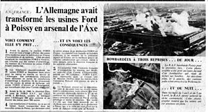 PSA Poissy Plant - British propaganda showing the bombing of the Ford plant in 1942.