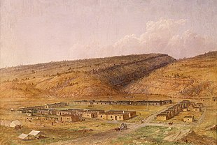 """Fort Defiance, New Mexico (now Arizona) by <a href=""""http://search.lycos.com/web/?_z=0&q=%22Seth%20Eastman%22"""">Seth Eastman</a> (1808 - 1875), painted 1873"""