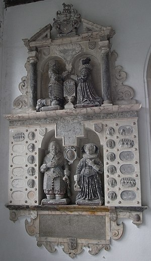Richard Fortescue - Mural monument erected in 1638 in Weare Giffard Church showing on the top tier the figures of Hugh Fortescue (1544–1600), son of Richard Fortescue, and his wife Mary Chichester. On the side of the prie dieu is an escutcheon showing the arms of Fortescue impaling Chichester: Checky or and gules , a chief vair. The monument also shows below Hugh's son John Fortescue (d. 1605) and his wife Mary Speccot, and shows the faces in sculpted relief of the latter's children and grandchildren in roundels