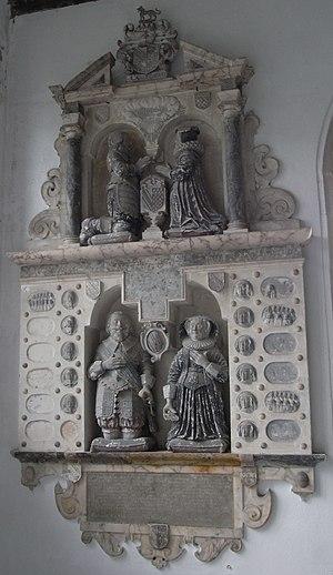 John Fortescue (Captain of Meaux) - 1638 Mural monument in Weare Giffard Church