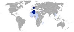 Frankrig i september 1939 Mørkeblå:   Fransk republikenLjusblå:   Franske kolonier, mandater, og protektorater.