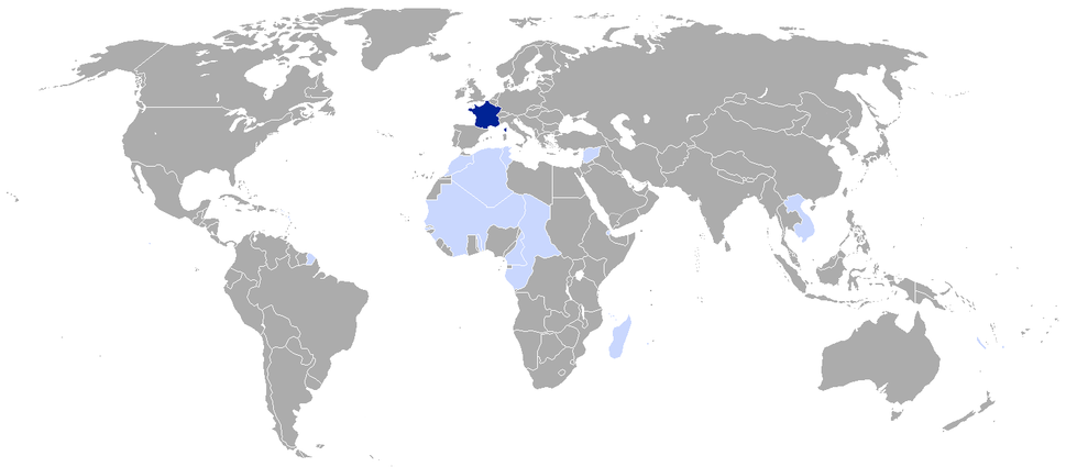 territories and colonies of French Republic at the end of 1939 Dark blue: Metropolitan territory of French Republic Light blue: Colonies, mandates, and protectorates of French Republic