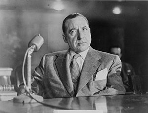 United States Senate Special Committee to Investigate Crime in Interstate Commerce - Mobster Frank Costello testifying before the Kefauver Committee.