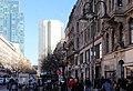 Frankfurt-Bahnhofsviertel, die Kaiserstraße, Blick zum Gallileo-Hochhaus und zum Eurotower.jpg