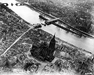 Bombing of Frankfurt am Main in World War II - Bomb damage near the cathedral included 2 bridges (May 1945).