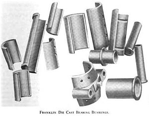 Franklin (automobile) - H. H. Franklin Manufacturing Company - Die-cast bearing bushings in 1909