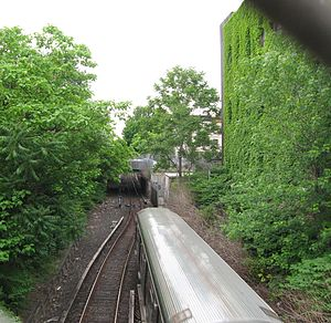 BMT Franklin Avenue Line - Northbound in open cut