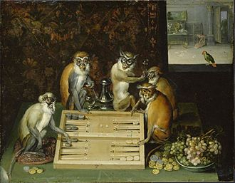 Frans Francken the Younger - Monkeys playing backgammon
