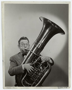 Fred Allen - Allen playing the tuba, date unknown.