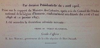 Mersha Nahusenay - The Legion d'Honneur order given to Mersha in April 1905