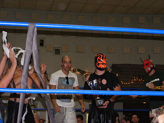 Frightmare (wrestler) - Chikara locker room celebrating Frightmare's Young Lions Cup victory over BDK's Lince Dorado