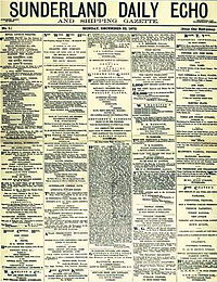 Front page of the Sunderland Echo (first issue, 22 December 1873).jpg