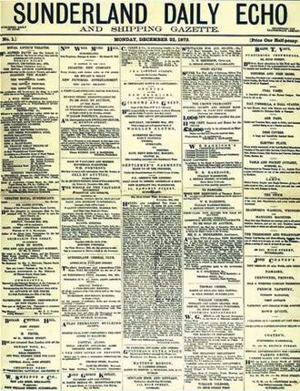 Sunderland Echo - Image: Front page of the Sunderland Echo (first issue, 22 December 1873)