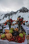 Fruit and flowers at lunch overlooking Pléneau Bay, Antarctica (6058801507).jpg