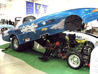 Drag racing - Funny Car with body up.