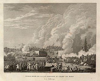 Timeline of the French Revolution - The National Guard fires on demonstrators in the Champ de Mars (July 17, 1791)