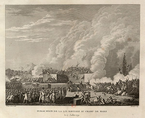 The National Guard fires on demonstrators in the Champ de Mars (July 17, 1791) Fusillade du Champ de Mars (1791, 17 juillet).jpg