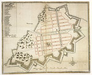 Gothenburg stave church - Early plan of the settlement of Gothenburg (1644). By the time of this map, the former stave church had already been replaced with the first cathedral, depicted near the middle.