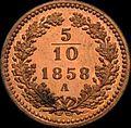 GOW 5per10 kreuzer 1858 A reverse.jpg