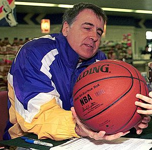 Gail Goodrich - Goodrich autographing a ball in 2001.