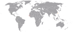 Map indicating locations of Gambia and Taiwan