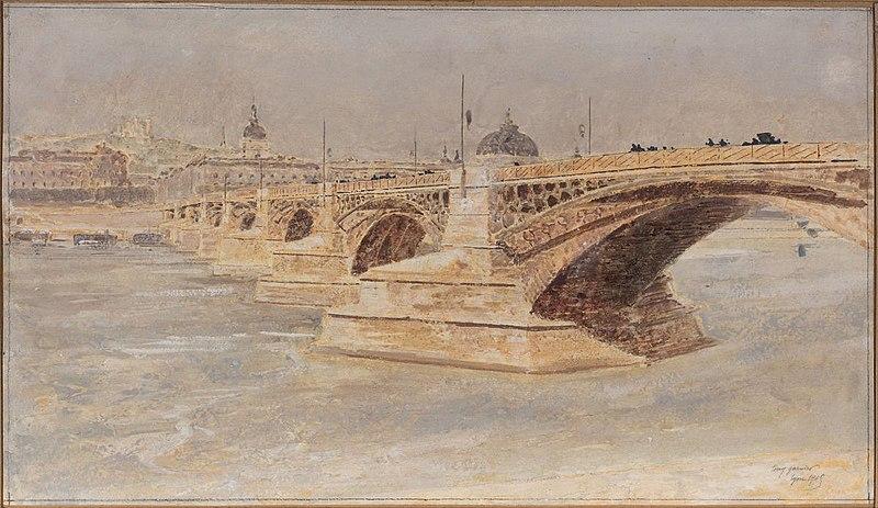 Fichier:Garnier-Tony, Lyon, pont de la Guillotière, aquarelle.jpg