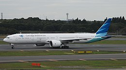 Garuda Indonesia B777-3U3ER (PK-GIC) taxiing at Narita International Airport.jpg