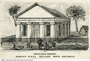 Pilgrim Uniting Church - Image: Gawler Place Wesleyan Chapel Engraving from a work by C. W. Calvert 1842 SLSA B 4500