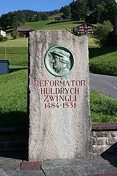 Gedenkstein in Wildhaus (Quelle: Wikimedia)