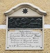Gedenktafel am Geburtshaus Haratzmüllerstraße 32 (Quelle: Wikimedia)