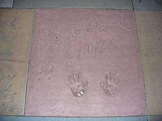 Geena Davis - The handprints of Geena Davis in front of The Great Movie Ride at Walt Disney World's Disney's Hollywood Studios theme park.