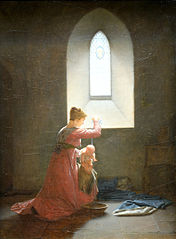 Geneviève de Brabant dans sa prison baptisant son fils