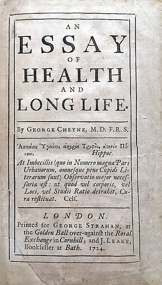 George Cheyne (physician) - Image: George Cheyne's Essay of Health and Long Life