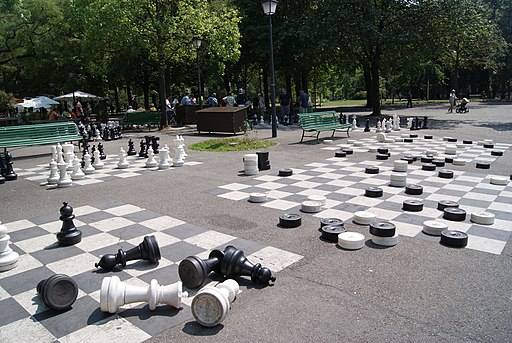 Giant draughts set in Parc des Bastions, Geneva, Switzerland - 20130715-02