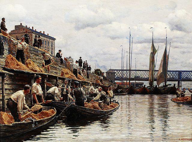 > Transport de sables sur la Vistule, tableau de Gierymski (1887).