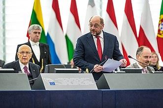 Martin Schulz all'europarlamento con il presidente della repubblica italiana Giorgio Napolitano (2014)