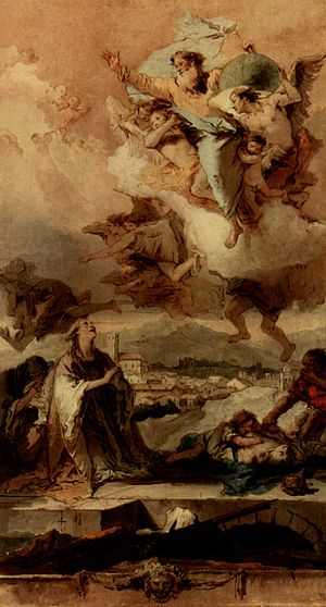 Este, Veneto - Giovanni Battista Tiepolo, St Thecla Liberating the City of Este from the Plague, 1758-59, in the church of Santa Tecla