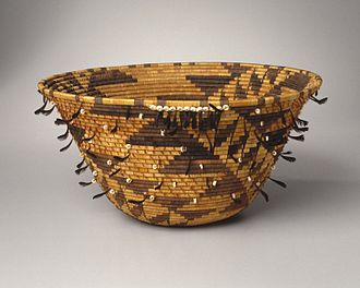 Pomo - Girl's Coiled Dowry or Puberty Basket (kol-chu or ti-ri-bu-ku), late 19th century, Brooklyn Museum